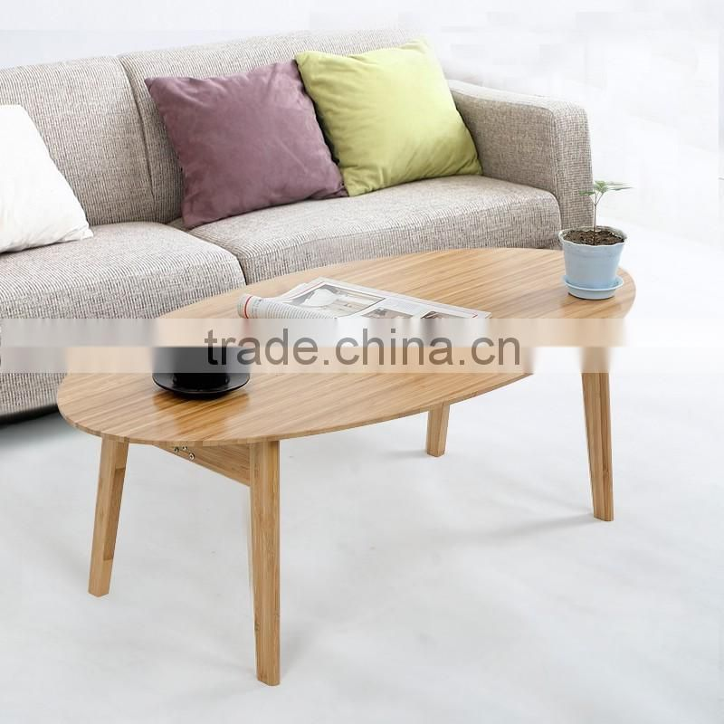 Eco-friendly bamboo morden no folding round coffee table for living room