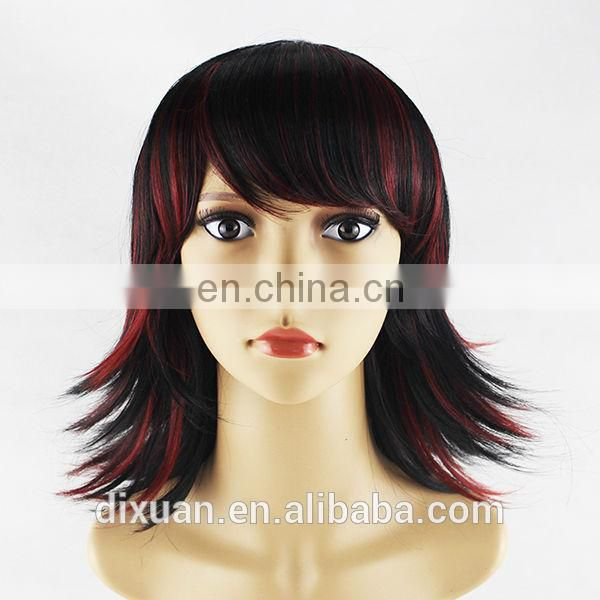 2014 hot sale mixed color short style synthetic wig with bangs