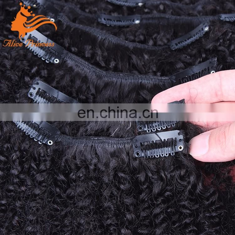 Afro Kinky Curly Clip In Hair Extensions Remy Brazilian Kinky Hair 7ps Clip Hair Extension For Women