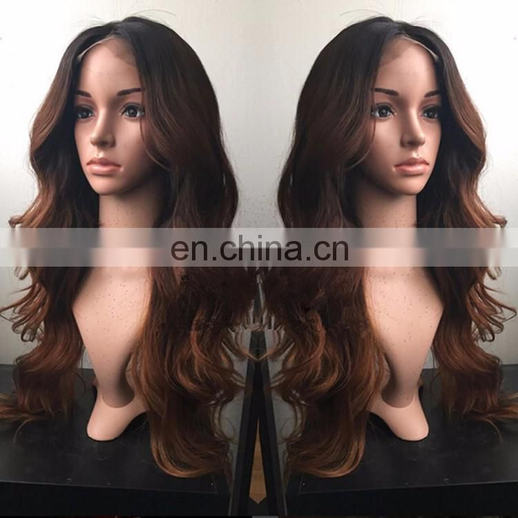 Ombre Two Tone Color Body Wave Raw Indian Human Hair Wig Unprocessed Brown Loose Body Wave Full Lace Wig With Baby Hair