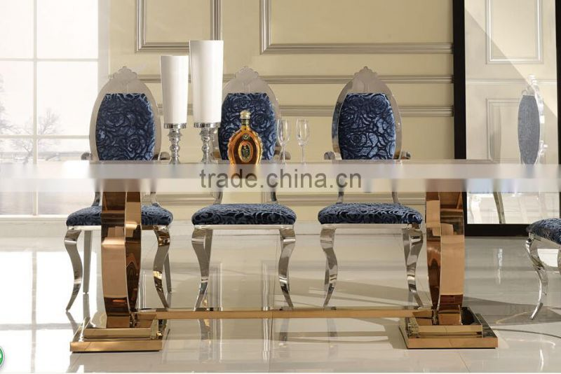 2015 popular furniture gold marble top luxury dining table in good taste 6130G