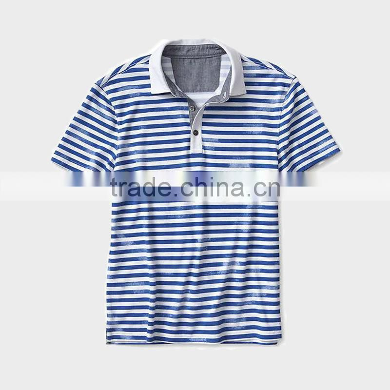 China alibaba wholesale men's blue stripe short sleeve polo shirt