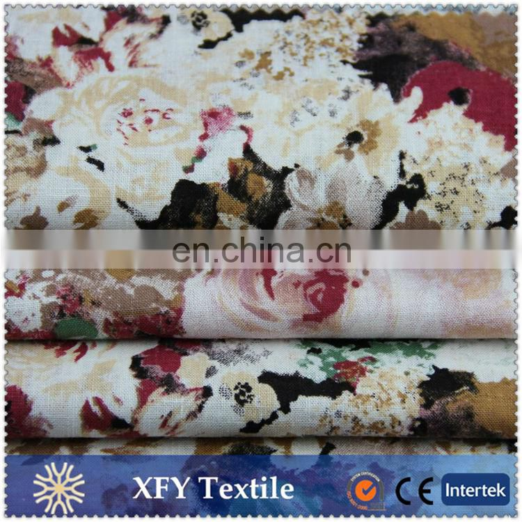 2016 linen cotton blend woven print fabric