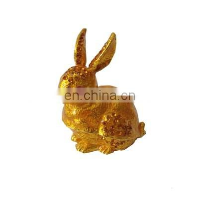 Golden color metal rabbit with crystal enamel hinged pewter jewelry box