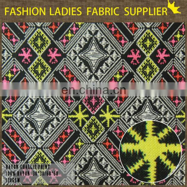 high quality colorful rayon fabric,100%rayon fabric,geometric pattern rayon fabric