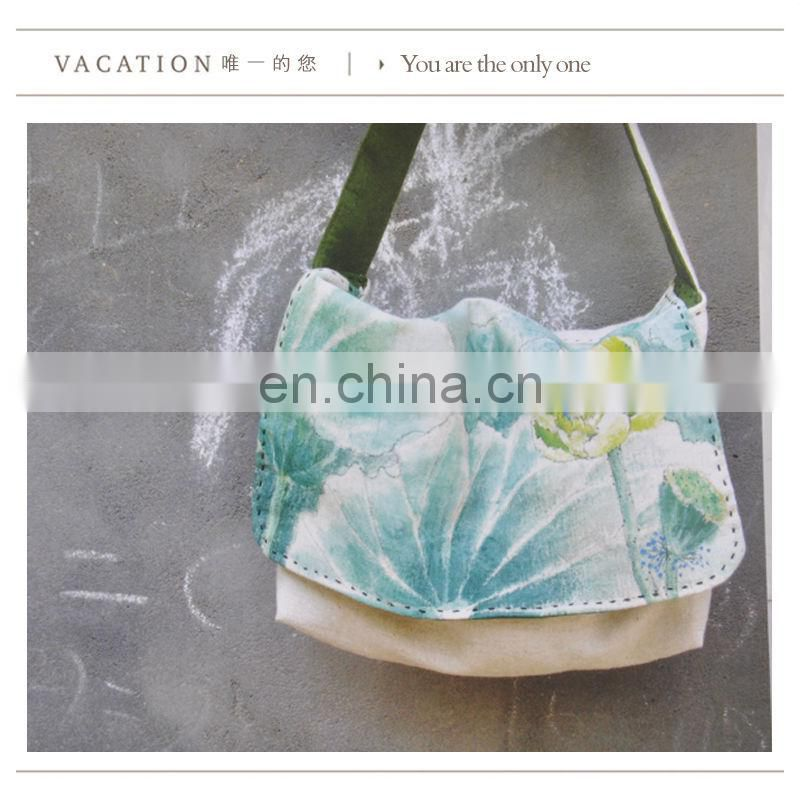 Nature cotton and handmade printing canvas bag