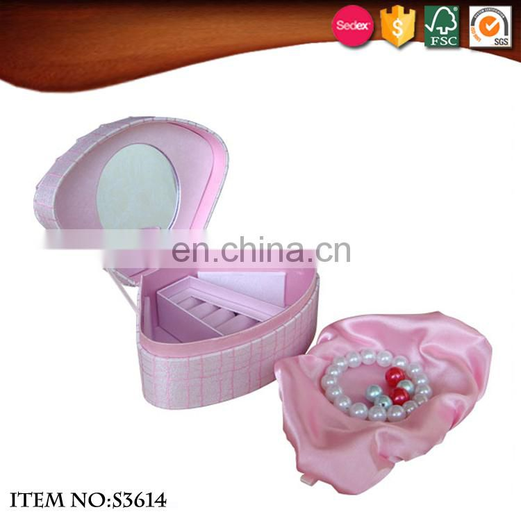 Girls style pink shell shape jewelry box with mirror