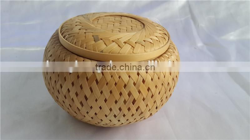 Chinese Style round New Bamboo weave funeral Casket with lid S