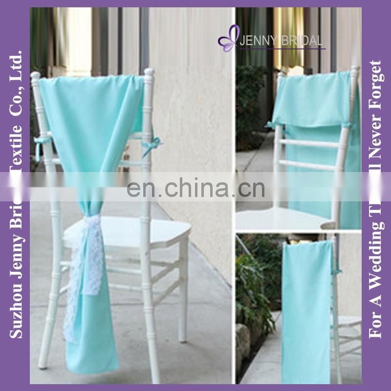 C393A wide lace satin ribbon tie back romantic turquoise satin chair sash