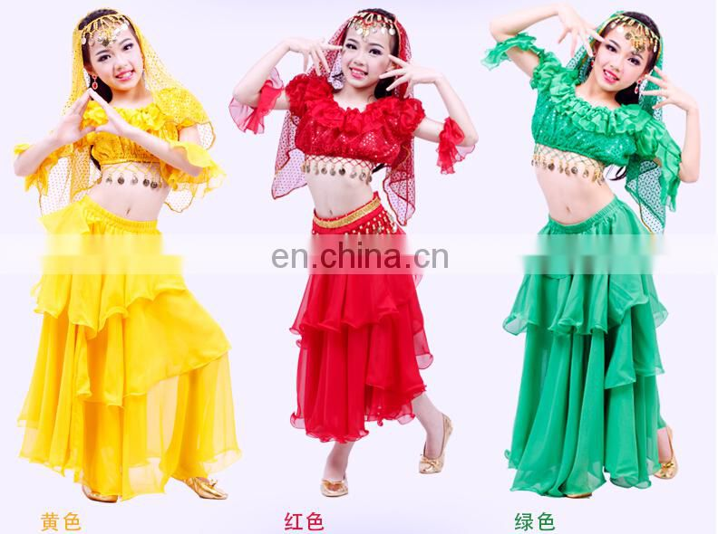 ET-123 120D top chiffon United State gold coin S M L children belly dance costume set