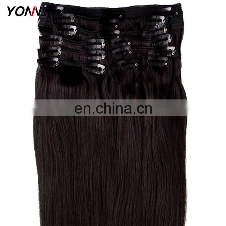 100% Human Unprocessed Virgin Hair Straight Clip In Human Hair Extension For Wholesale
