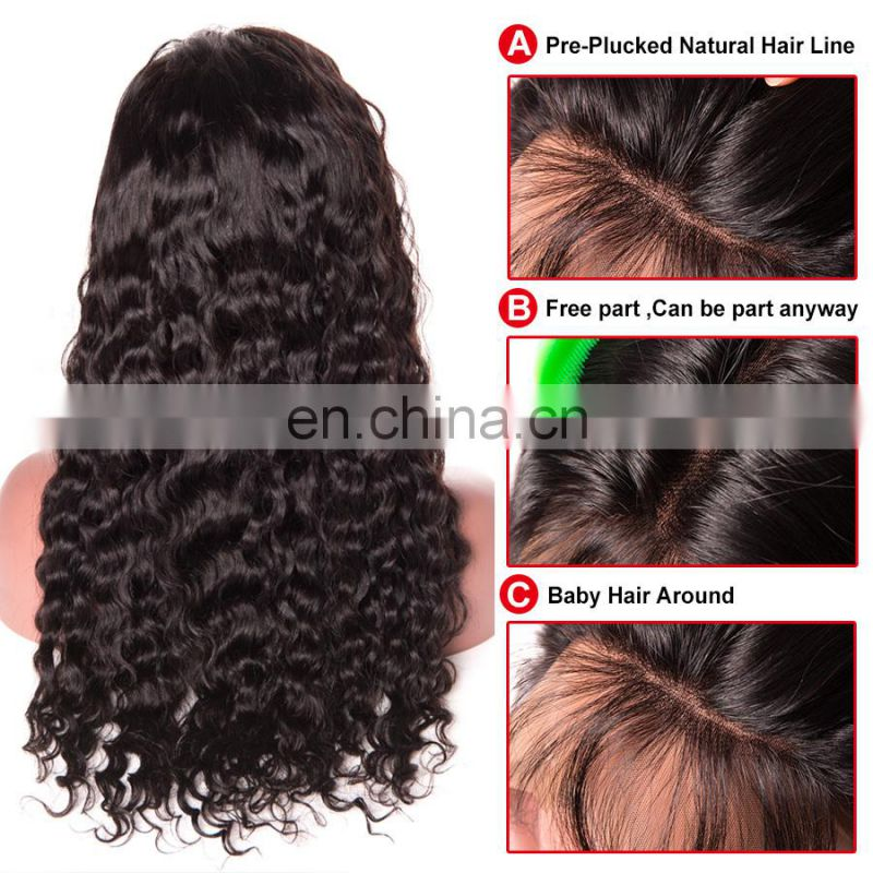 Peruvian hair lace wig curly wave remy hair preplucked full lace wig