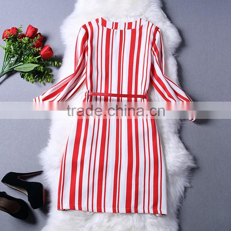 2016 Summer Elegant Women Knee Length Zipper Front Dresses Round Neck 3/4 Sleeve Chest Pocket Waist Belt Red White Striped Dress