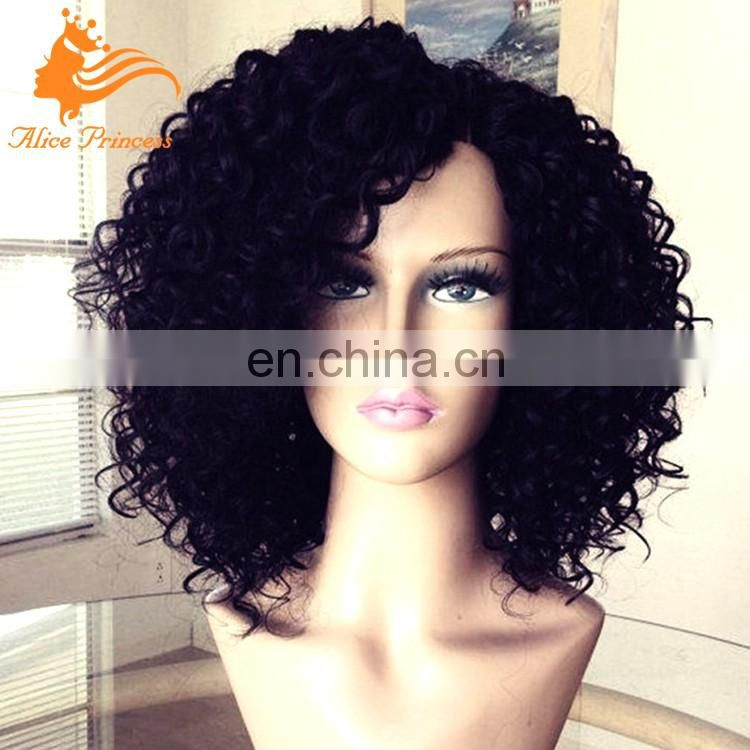 Hot Selling Nice Style 7A Grade Bleached Knots Virgin Human Hair Wig 180% Density Natural Hair Line Short Curly Full Lace Wig