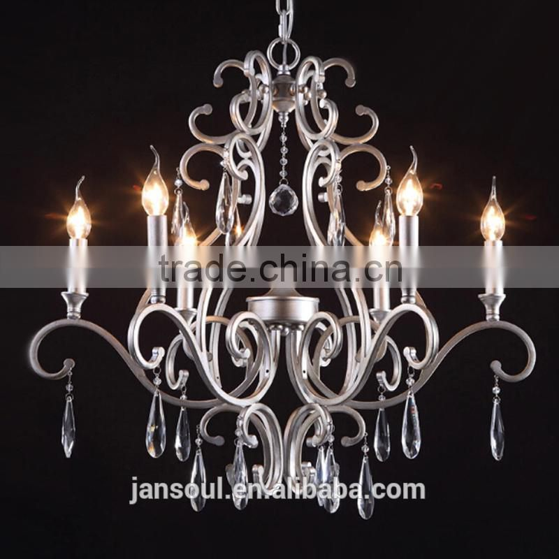 rustic brown color candle lights unique iron armed chandelier with hanging crystal