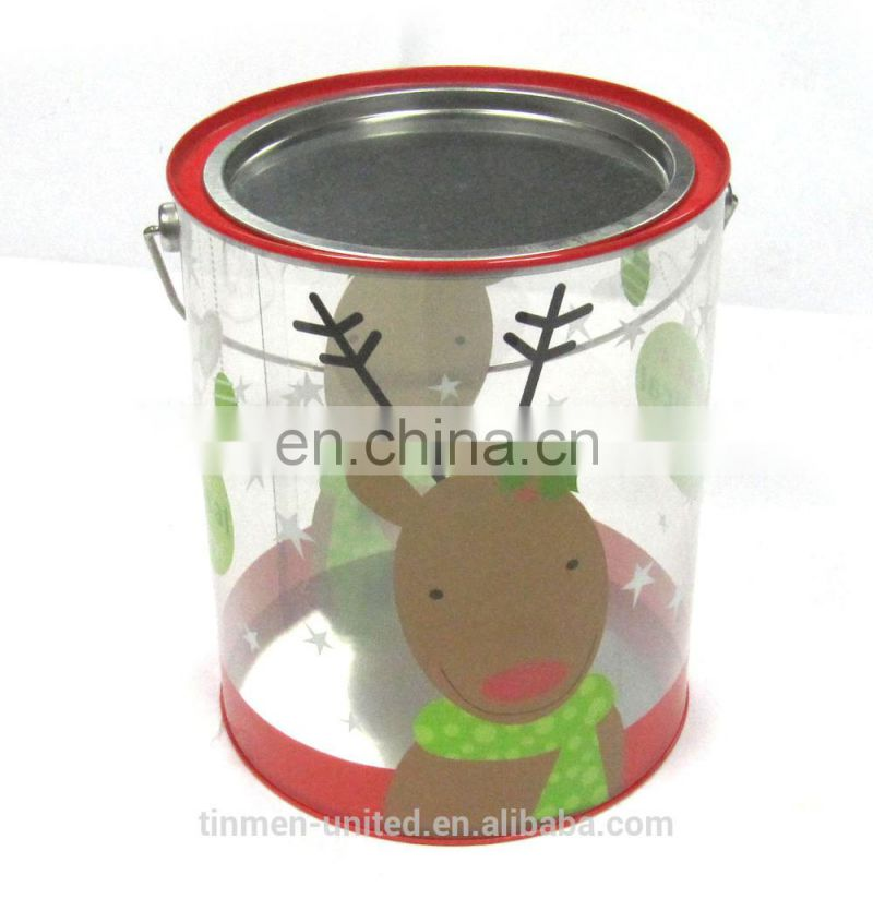 Christmas gift tin can with plastic body