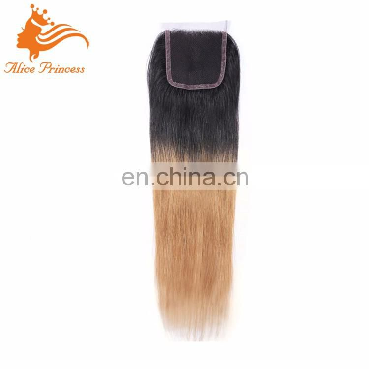 Cheap Human Hair Lace Closure 100% Unprocessed Remy Hair Lace Closure Bleached Knots 1B 27 Top Swiss Lace Closure With Baby Hair