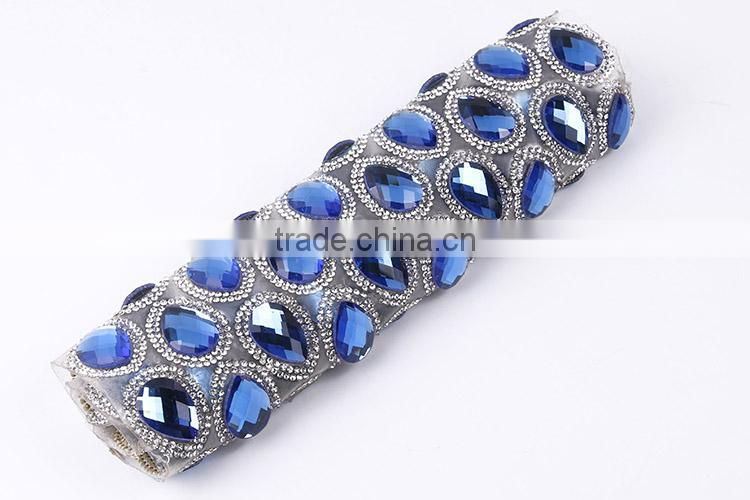Shinning Hot Fix Big Glass Stone Roll Crystal Rhinestone Mesh