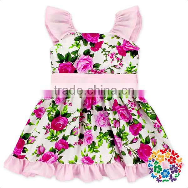 80bd3eaf9f63 2017 Hot Fashion Baby Girl Floral Dress Summer Girls Party Evening Flutter  Sleeve Dress Baby Cotton ...