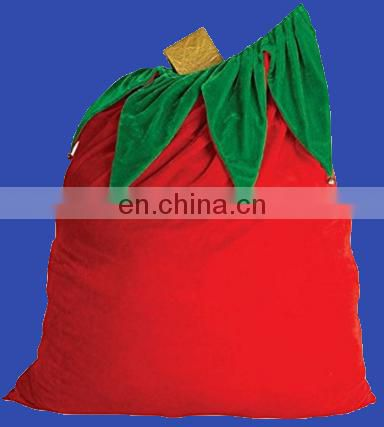 Factory direct sell Costume polyester blank santa sack santa bag with Jingle Bells
