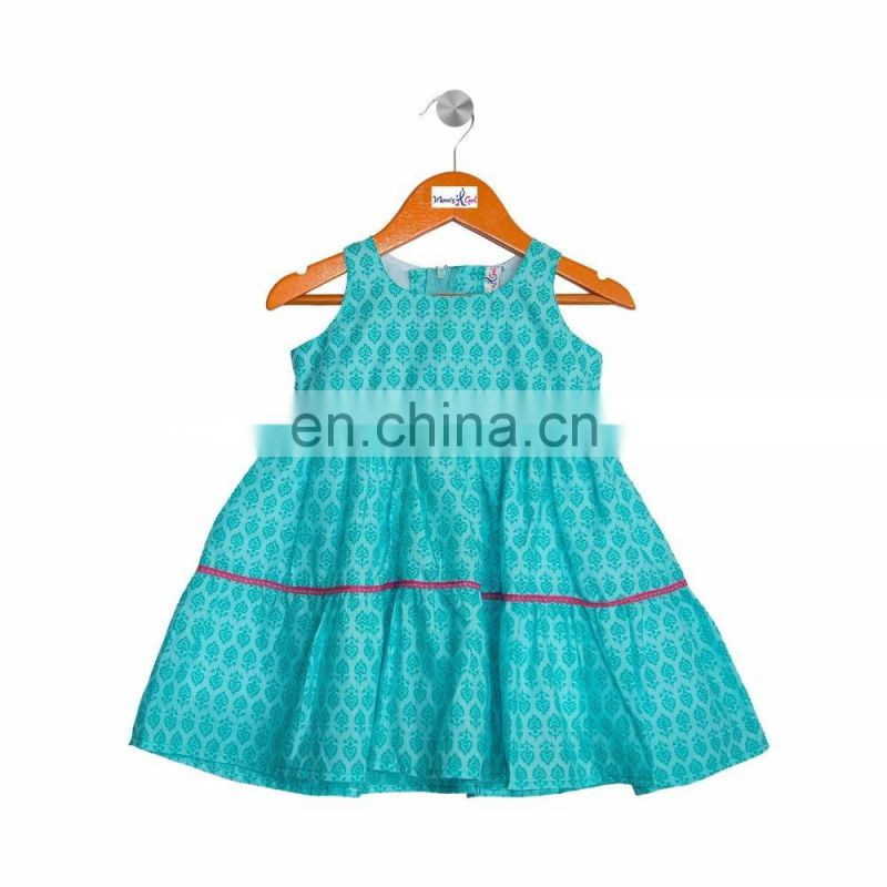 Turquoise Layered Frock With Lace