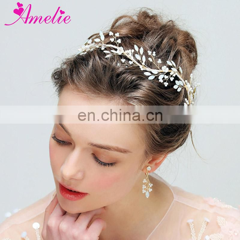 Wedding Regal Bridal Jewelry Sets Opal Beads Bridal Headbands and Earring Set Hair Accessory Pearl Hairband Princess Prom Boho