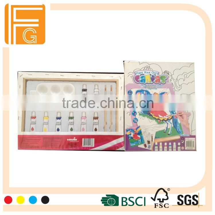 kids canvas painting set/hot sale cotton wooden canvas set for children with acrylic pain