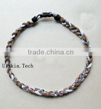 2011 Hot selling Germanium&Titanium Tri braided sports necklace with 18colors