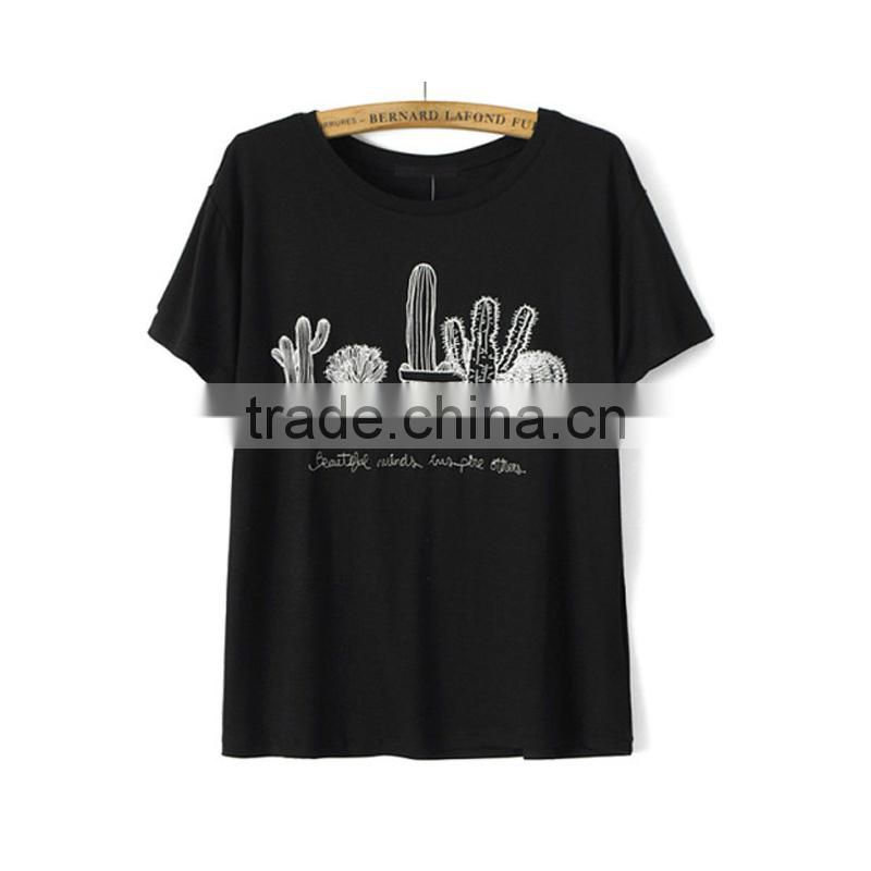 Black ladies t-shirt round neck short sleeve garment t shirt