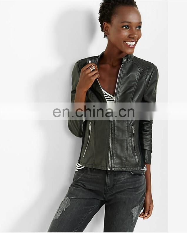 Women's Faux Leather zip closure Long sleeve Collarless Bolero Imitation Leather Jacket