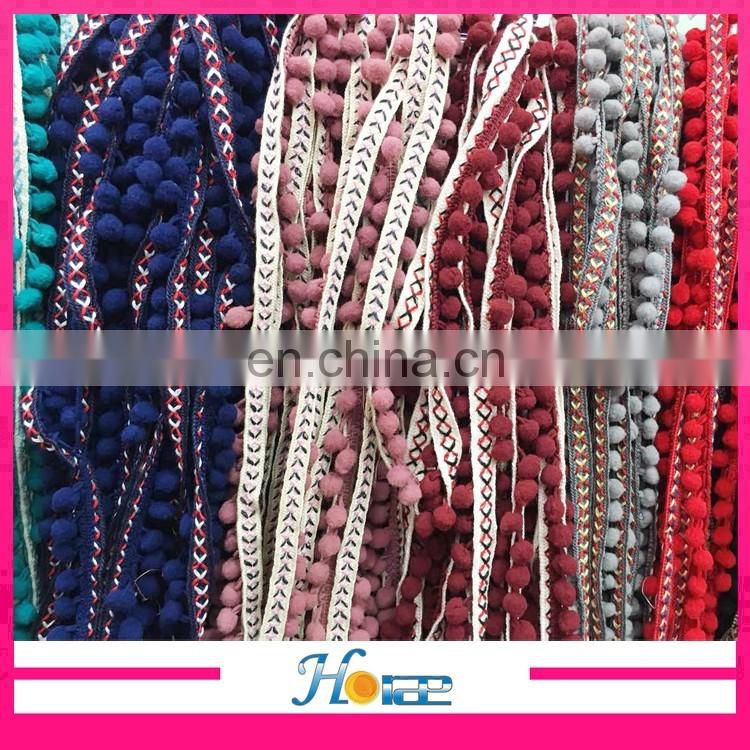 new arrival hotselling wholesale new fancy indian lace pom-pom trims