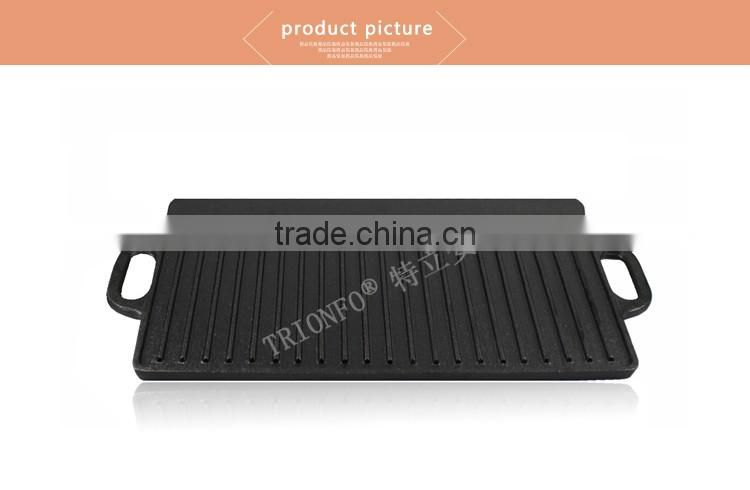Black non-stick pre-seasoned rectangular cast iron teppanyaki pan