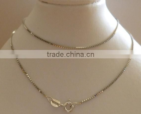 White Gold 1.5mm Box Chain ,Hallmarked Solid Gold Necklace,2.0 mm box chains