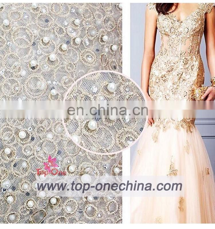 2016 wholesale beaded lace fabric ,french beaded lace,beaded lace fabric for wedding party