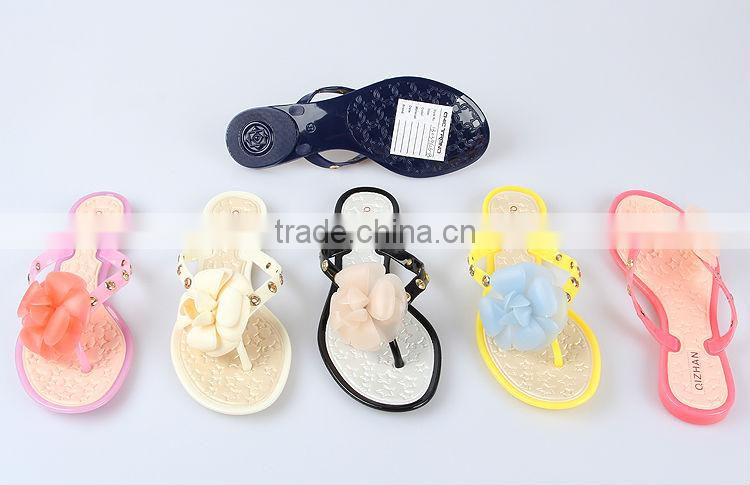 2015 Girl beach summer sandal fancy Plastic lady flips flops brazil melissa items flats PVC jelly shoes with bow