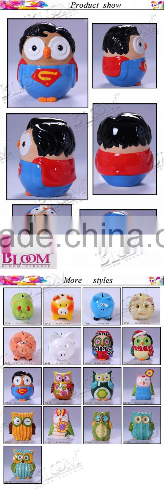 children ceramic superman shape money boxes wholesale