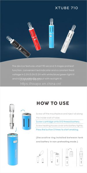 Wax Oil Vaporizer Vapmod Xtube 710 Cbd Ceramic Cartridge