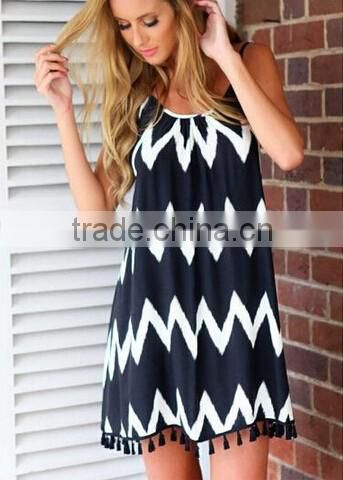New Sexy Women Summer zig zag tassel Backless Beach Casual Dress/