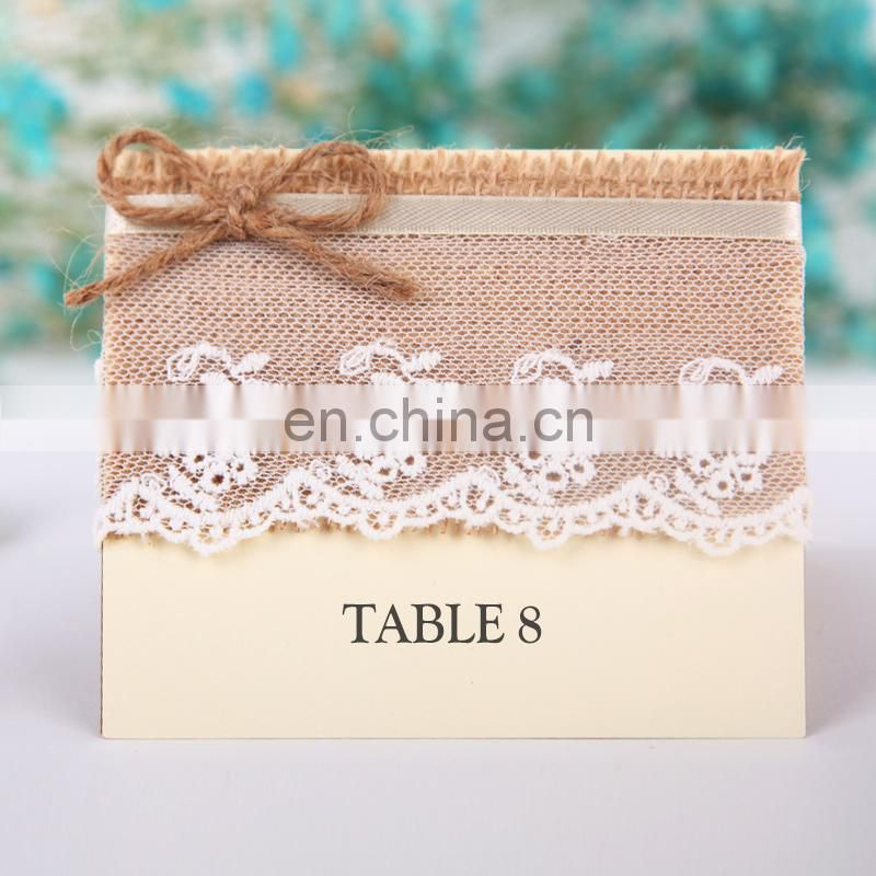 Retro Guest Name Table Place Cards with Lace & Hemp Rope Rustic Table Number Escort Cards Wedding Burlap Table Numbers