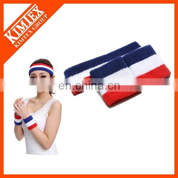 2017 Wholesale terry cotton logo branded sweatband wristband set