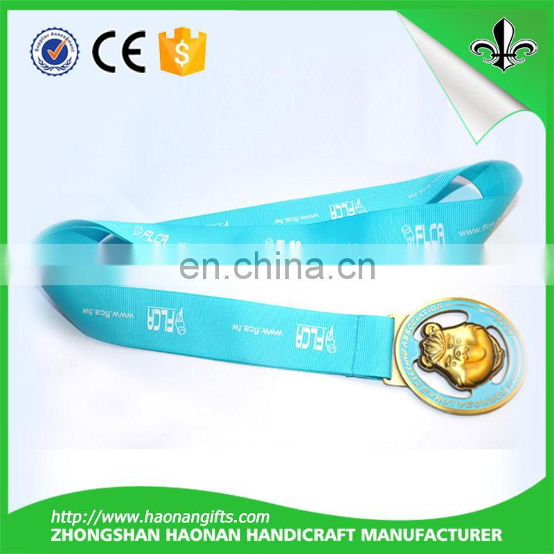 Zinc alloy custom trophies metal medal with ribbon