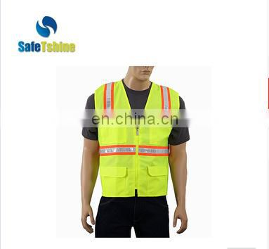 Traffic vest knitted fabric safety vest with high reflective tape