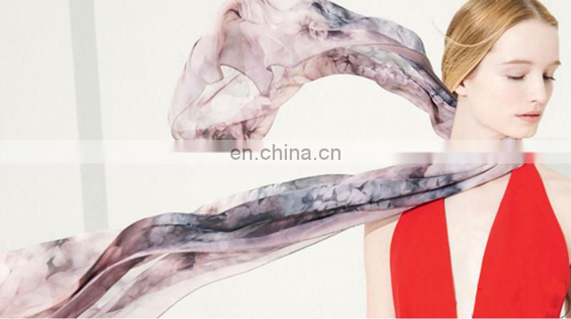 Fashion Warm Winter Flowers Silk Print Scarf