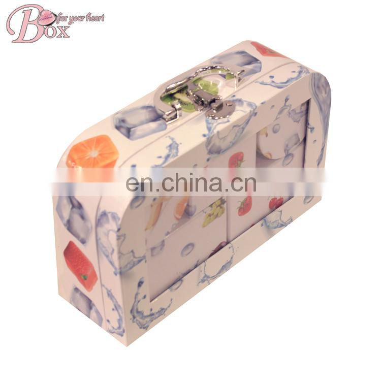 PVC Window Cardboard Funny Children Suitcase with Metal Lock