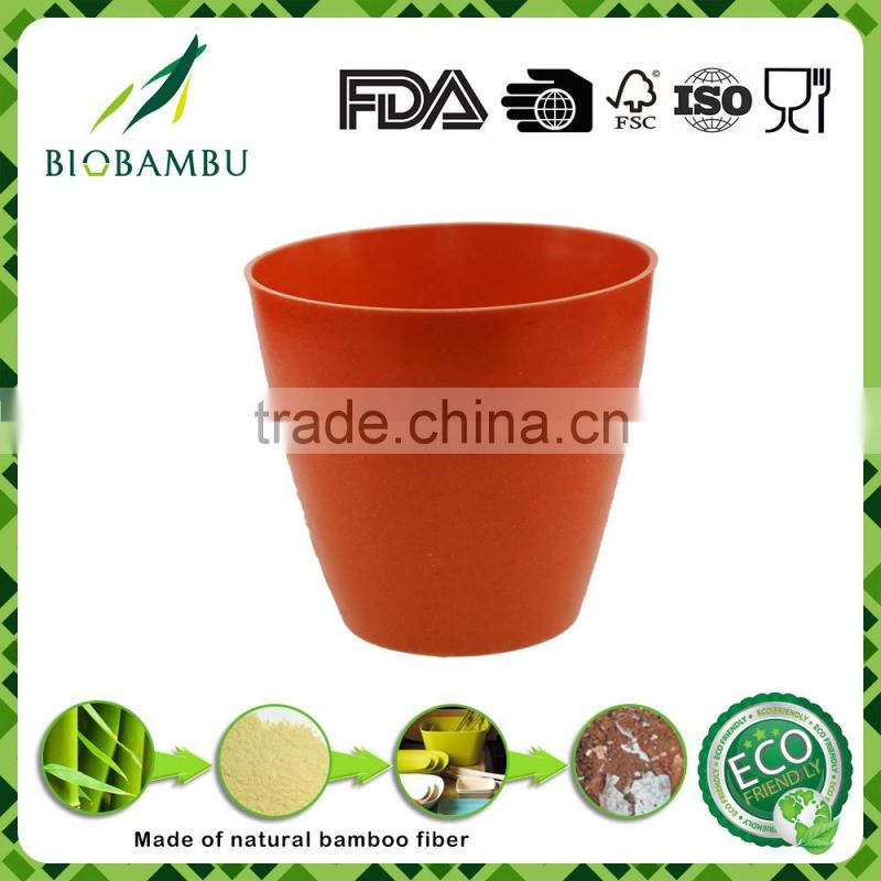 Round Colorful Decorative Nursery Bamboo Fiber Flower Pot