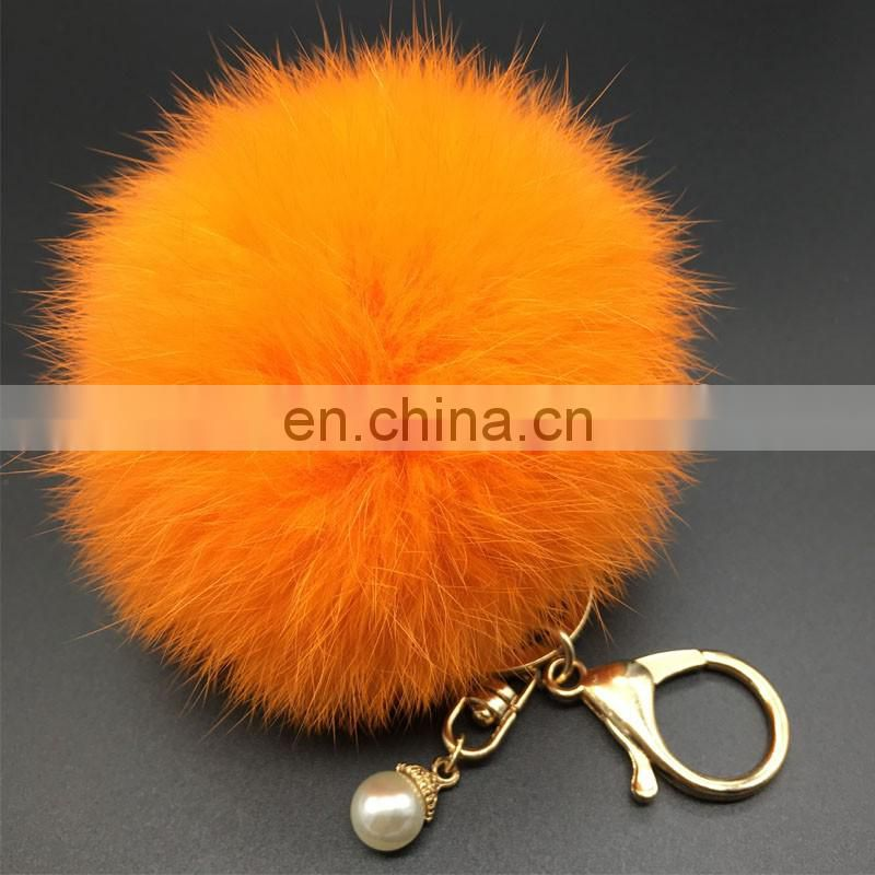 High quality hand made fur poms key chain with real rabbit fur pom pom