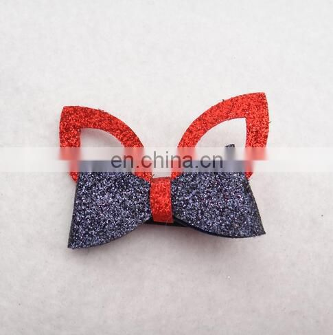 Glitter Baby Bow Clip With Ears Toddler Unique Hair Clips No Slip Hair Clip For Baby Hair Accessory