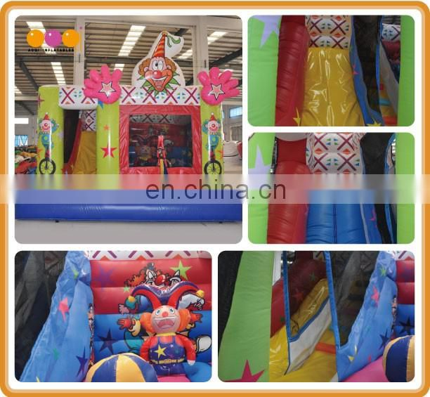 Colourfull inflatable clown combo/inflatable bouncer slide combo