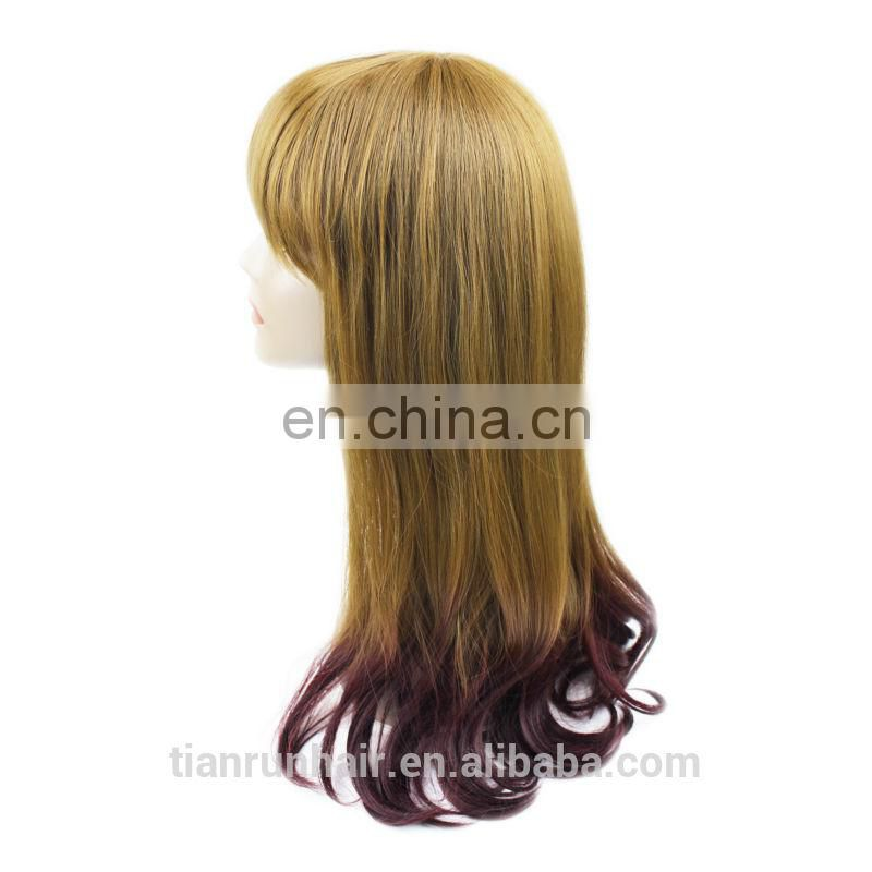 factory wholesale large stock machine made synthetic Caucasian wigs