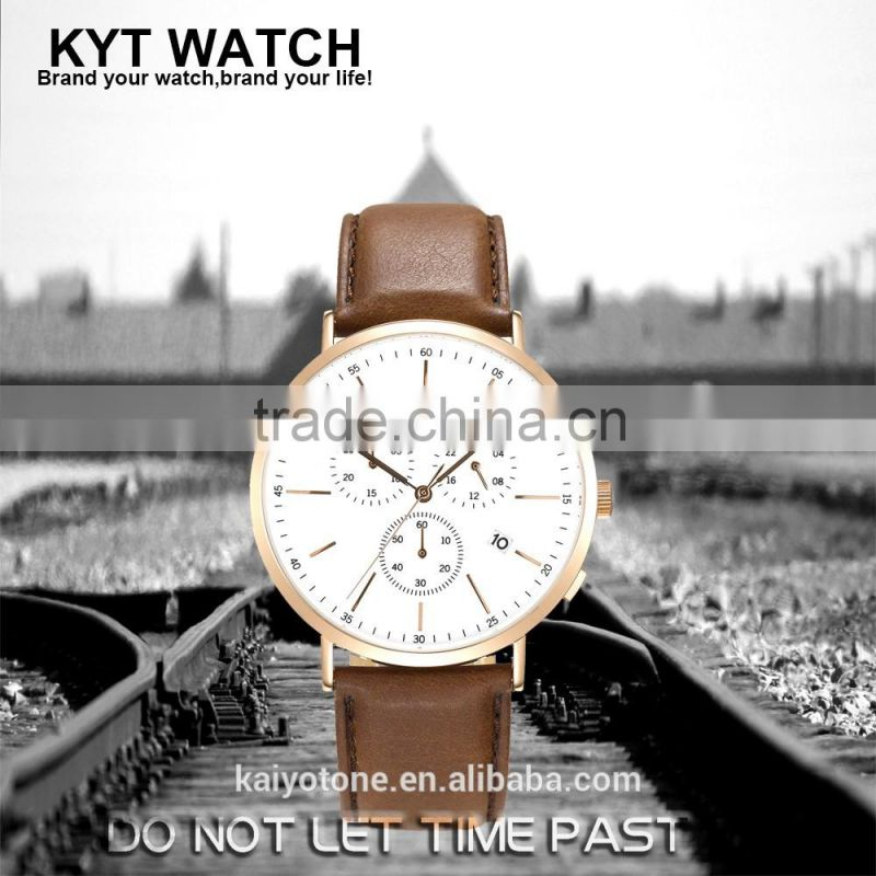 2016 KYT Japan Movt Quartz Watch Stainless Steel back 10atm Water Resistant leather band Chronograph Men Gift WristWatches